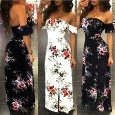 Women's Floral Printed Off Shoulder Short Sleeve Strapless Tunic Maxi Slit Dress
