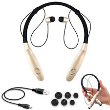 Gold LS106 Bluetooth Headphones Neckband Headset Stereo Noise Cancelling Earbuds