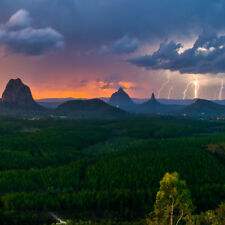 Abstract Stretched Canvas Print Wall Art Lightning Over Glasshouse Mountains (sq