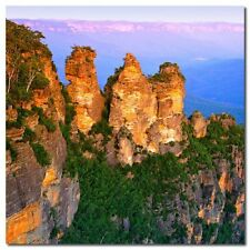 Abstract Stretched Canvas Print Wall Art Blue Mountains (square)