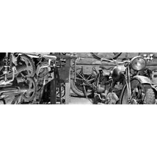 Abstract Stretched Canvas Print Wall Art Vintage Garage, B&W