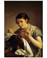 Abstract Stretched Canvas Print Wall Art Vasily Tropinin - The Lace-Maker
