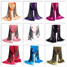 Fashion Nice Soft Lady Women Peacock Beaded Velvet Silk Tassel Embroidered Scarf