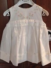 Sarah Louise Infant 6m/12m Sleevless White dress w/pink embroidery/smocking-NWT