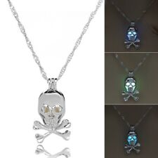 Fashion Women Jewelry Glow In The Dark Bead Skull Pendant Necklace Birthday Gift