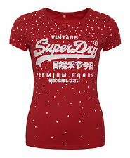 New Womens Superdry Factory Second Vintage Logo Entry AOP T-Shirt Red