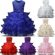 Baby Girls Princess Dress Kids Ruffles Bowknot Lace Party Wedding Dresses  RT WY