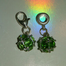 EUROPEAN OR LOBSTER CLASP STYLE AUGUST BIRTHSTONE GREEN CRYSTAL BEAD DROP CHARM
