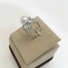 Fashion 8-9mm White Natural Cultured Freshwater Pearl Ring Size US7-10