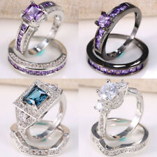 Vintage Amethyst 925 Silver Women Men Wedding Engagement Ring Set 2pcs Size 6-12