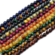 Natural Rose Sapphire Peridot Topaz Mix-Color Tiger's Eye Round Beads 7.5""