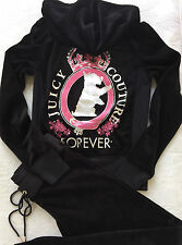 Juicy Couture Velour Tracksuit Silver Scotty Crown Black Hoodie Pant Track S XS