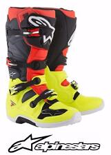 ALPINESTARS TECH 7 MOTOCROSS ATV MX BOOTS ASTARS YELLOW FLUO RED FLUO GRAY BLACK