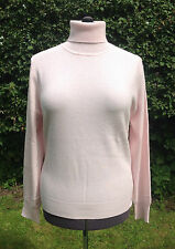BNWT Authentic Jaeger Pale Pink Pure Cashmere Roll Neck Jumper (L) RRP £175