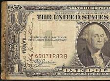 1935 A $1 DOLLAR BILL HAWAII SHORT SNORTER SIGNED WWII NOTE SILVER CERTIFICATE