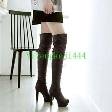 Womens Thigh High Stretchy Over the Knee Boots High Heel Platform Boots Shoes SZ