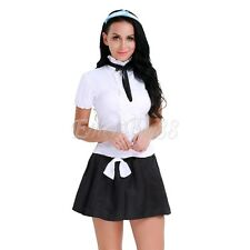 Women School Girl Uniform Costume French Maid Halloween Sexy Fancy Dress Outfit