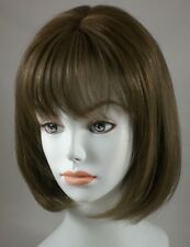 100% Human Hair Short Chin-Length Bob Style Wig w/ Bangs Lightweight, Breezy Cap