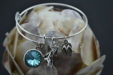 Beach Themed Wire Charm Bangle w/ your choice of Personalized Birthstone Color