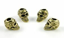 Gold Alloy Skull Beads For Leather Jewelry, Paracord Bracelets, Knife Lanyards