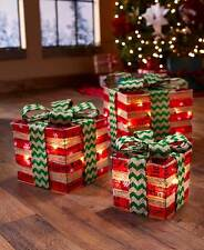 Christmas Set Of 3 Lighted Gift Box Holiday Decor Large Medium Small Boxes