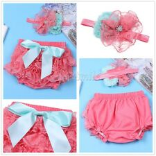 Infant Baby Girls Photography Prop Ruffle Bloomer+Headband Set Lace Diaper Cover