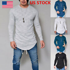 US Men Crew Neck Solid Long Sleeve Fitted Casual T-shirts Tee Shirts Tops S-2XL