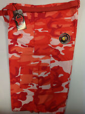 Red Peach Camo Colored Belted Cargo Shorts Size 46 URBAN CITY Piranha Records