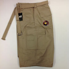 Khaki Solid Colored Belted Cargo Shorts Size 50 JLT Piranha Records