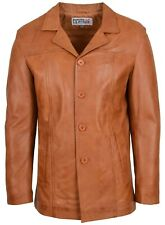 Mens Tan Genuine Leather Jacket Classic Buttoned Soft Blazer Mac Coat NEW