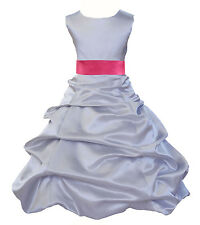 SILVER WEDDING PAGEANT QUINCEANERA TODDLER FLOWER GIRL DRESS 2 4 5T 6 8 10 12 14
