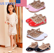 US Baby Girls Toddler Kids Sandals Rivet Buckle T-strap Flat Princess Shoes Size