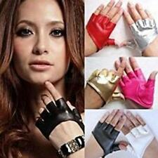 Women's Half Finger PU Leather Glove Ladies Fingerless Driving Show Dance Gloves