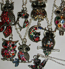 SELECTION OF BRASS OR SILVER TONE OWL PENDANT NECKLACES FAST UK DELIVERY