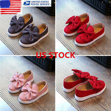US Ship Toddler Baby Girl Shoes Bowknot Non-slip Soft Sandals Suede Casual Flats