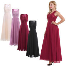 Womens Lace Long Chiffon Dress Evening Formal Party WEDDING Bridesmaid Prom Gown