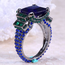Women Men Charm 925 Silver Ring Huge 6.1Ct Tanzanite Wedding Ring Size 6-10
