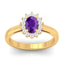 Purple Amethyst IJ SI Diamond Celebrity Halo Engagement Ring SolidGold Certified