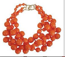 KENNETH JAY LANE-3 STRAND ORANGE BEADS CLUSTER DROPS NECKLACE
