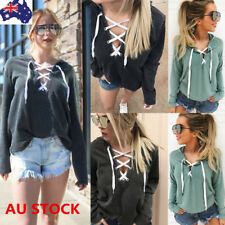 Women Lace Up Long Sleeve Sweatshirt Hoodie Jumper Sweater Sports Tee Crop Tops