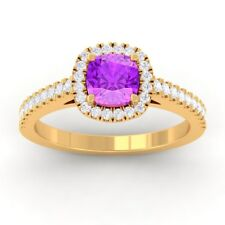 Purple Amethyst IJ SI Diamonds Halo Gemstone Engagement Ring SolidGold Certified