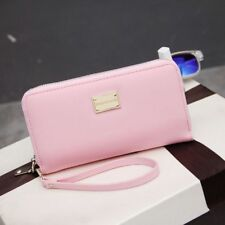Pretty Lady Zipper Leather Clutch Coin Phone Bag Long Purse Wallet Card Holder