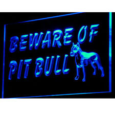 "16""x12"" i839-b Beware of Pit Bull Terrier Dog Neon Sign"