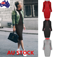 AU Women Hoodie Mini Dress Hooded Sweatshirt Loose Pullover Jumper Sweater Tops