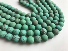 Matte Dark Green Turquoise Gemstone Round Loose Beads for Jewelry Making