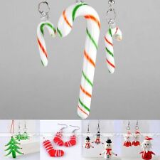 Xmas Christmas Lampwork Glass Sock Tree Candy Cane Pendant Earrings Set DIY Gift