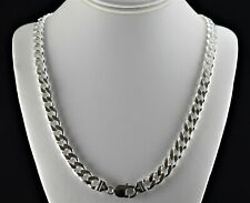 Heavy 10mm Italian Solid 925 Sterling Silver Cuban Link 6 Sided Curb Chain 24 30
