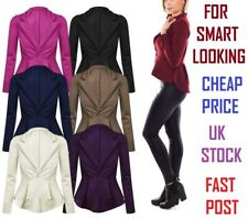 Ladies High Quality Frill Smart Work Office Fitted Women Blazer Jacket 4-20 scbJ