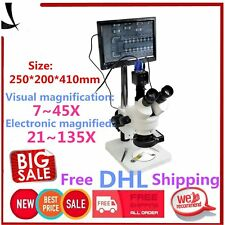 """7X-45X Trinocular Stereo Zoom Microscope with Double Boom Stand + 8"""" LCD Monitor"""