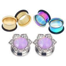 3Pair 8-16MM Stainless Steel Double Flare Flesh Ear Tunnels Plugs Earlets Gauges
